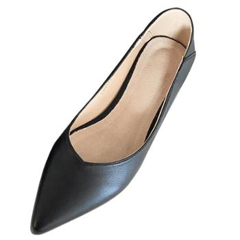 露曼尼时尚真皮女鞋一脚蹬高跟鞋工作不磨脚尖头浅口单鞋