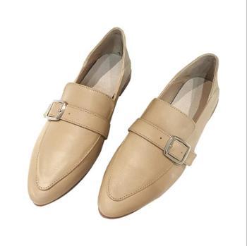露曼尼真皮百搭英伦乐福鞋侧搭扣小皮鞋子粗跟单鞋