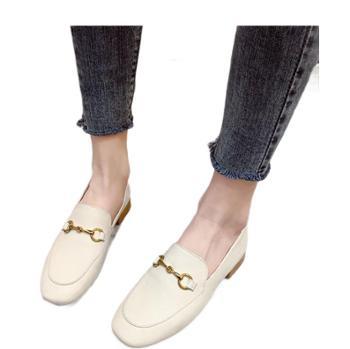 露曼尼真皮软底乐福鞋复古英伦风单鞋女一脚蹬