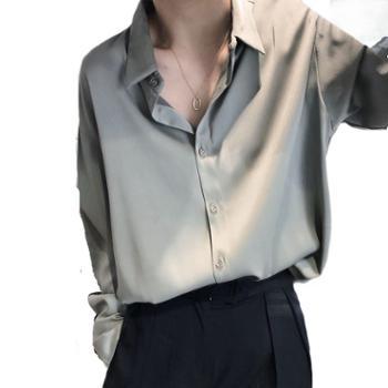 鹿西缎面雪纺衬衫女小众轻熟纯色绸缎上衣