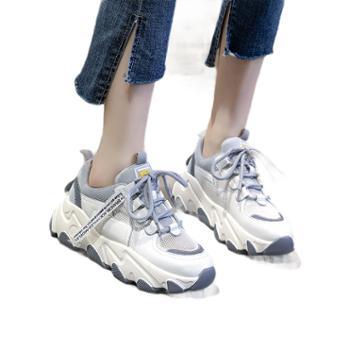 三个儿子夏季真皮老爹鞋女鞋百搭运动小白鞋女