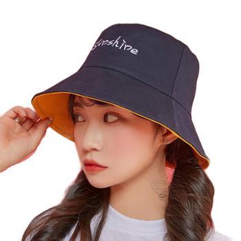 VVC双面渔夫帽女糖果色字母遮阳帽