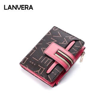 LANVERA/朗薇钱包女短款女士钱夹折叠拉链卡包L9076