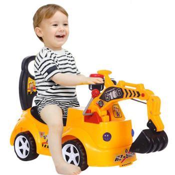 贝爵儿童扭扭车可坐可骑宝宝大号玩具音乐工程车挖土机