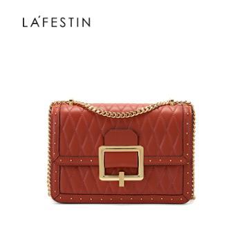 LaFestin/拉菲斯汀真皮女包菱格链条单肩斜挎620550