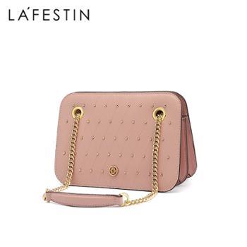 LaFestin/拉菲斯汀女包真皮单肩包铆钉风琴包斜挎包粗菱格链条小方包620727