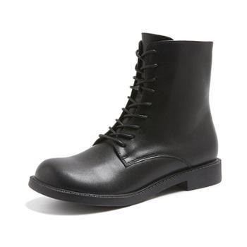 露曼尼真皮复古英伦系带短筒马丁靴