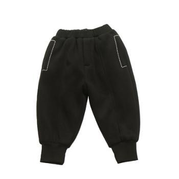 GENWOWAN儿童刺绣卫裤男童针织束脚裤休闲百搭纯棉