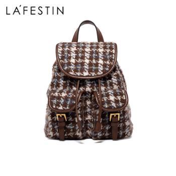 LaFestin/拉菲斯汀复古女士双肩包英伦风千鸟格轻便背包621083
