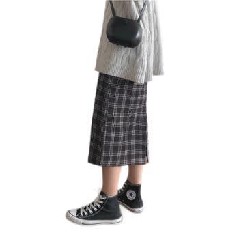 Missmuzi复古中长款格子裙A字半身裙女灯芯绒