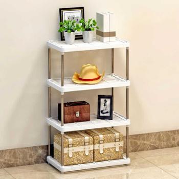 索尔诺置物架厨房层架塑料落地收纳储物架浴室客厅整理架子四层