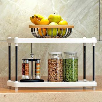 索尔诺置物架厨房层架塑料落地收纳储物架浴室客厅整理架子两层