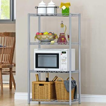 索尔诺4层置物架落地层架厨房浴室卫生间整理收纳微波炉架子