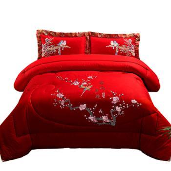 冬冬宝全棉婚庆被芯大红色结婚被子刺绣单双人喜被