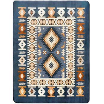 地中海地毯客厅蓝色茶几可机洗绒面块毯床前简约现代地垫