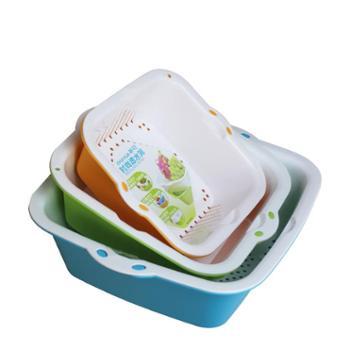 3件套茶花沥水篮双层塑料洗菜盆厨房水槽滴水塞沥水筛水果盆果蔬篮菜筐