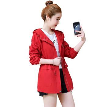 沫沫依莉短款风衣女韩版收腰系带修身学生连帽装外套LXY832