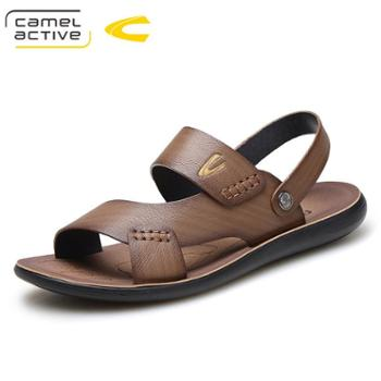 骆驼动感男士凉鞋真皮休闲凉拖鞋男防滑男鞋厚底牛皮沙滩鞋