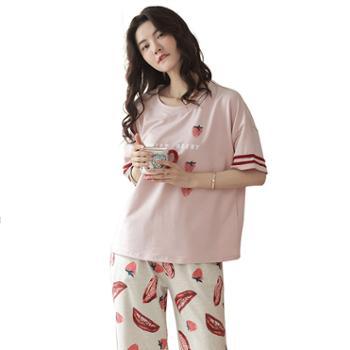 青年里 可爱草莓七分裤短袖可外穿睡衣套装 全棉