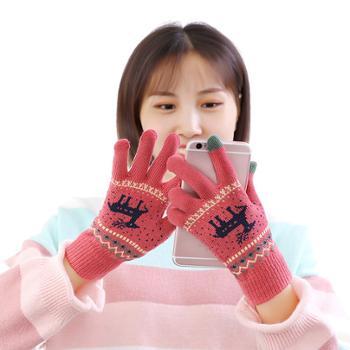 莫二女士冬季触屏五指保暖毛线手套1双