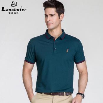 男士短袖男t恤纯色polo衫男士翻领短袖丝光休闲t恤衫