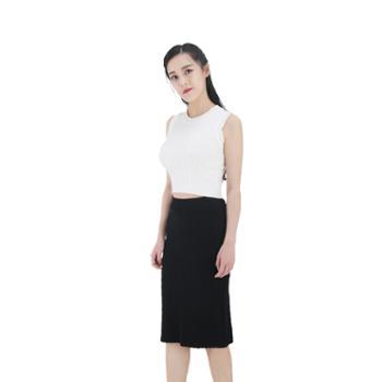 雪莲META针织精纺女士立体图案开衩直筒裙K273608