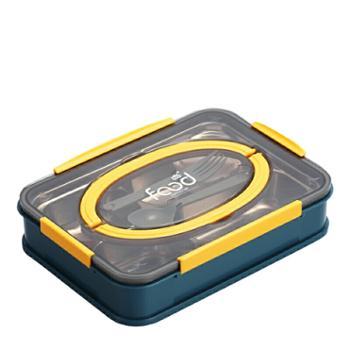 婴侍卫不锈钢分格手提餐盒学生上班族饭盒(1000ml四格配叉勺)2523A