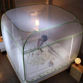 蒙古包蚊帐家用免安装可折叠公主风2米床1.5/1.8m床双人加密纹账大开间免安装