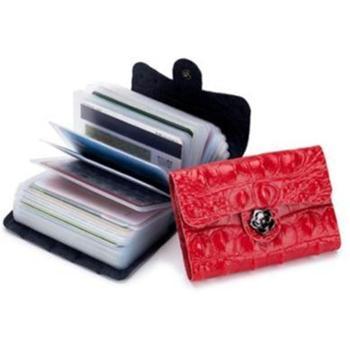 鳄鱼纹韩国卡包个性女士多卡位真皮时尚简约男士银行卡套证件包