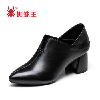 蜘蛛王女靴子新款黑色尖头百搭粗跟两穿时尚潮百搭女鞋