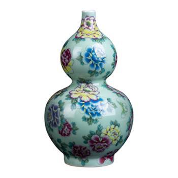 私享·金和汇景皇家窑火·仿清乾隆粉彩万花豆青葫芦瓶