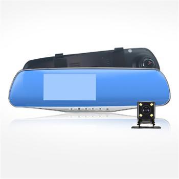 e车坊 高清前后双镜头4.3高亮屏星光夜视后视镜行车记录仪 303 (配16G TF卡)