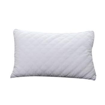 蕊丝坊/RIOUS 纯棉半边绗缝枕48*74cm单个 超细羽丝绒填充,回弹力好