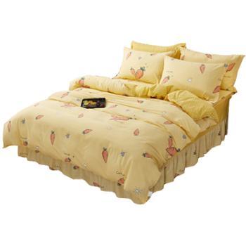 蕊丝坊/RIOUS 臻惠纯棉床裙四件套 适用1.5米/1.8米床