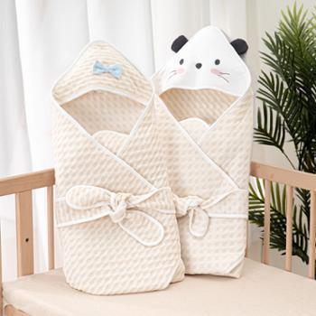 威尔贝鲁新生婴儿包被纯棉四季通用初生春秋薄棉外出宝宝产房抱被