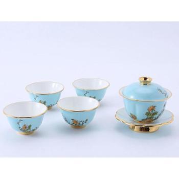金和汇景-夫人瓷西湖蓝7头功夫茶具