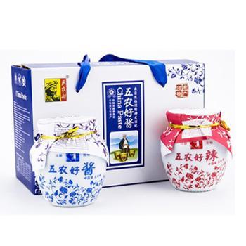 五农好黄豆酱辣椒酱礼盒230/罐拌面下饭熟酱
