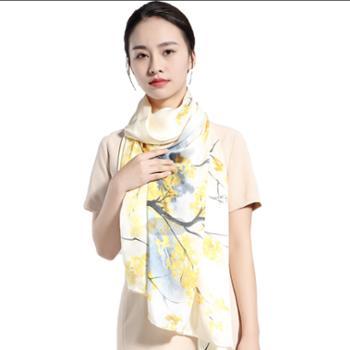 丝语棠16姆米重磅素绉缎桑蚕丝长巾-秋色