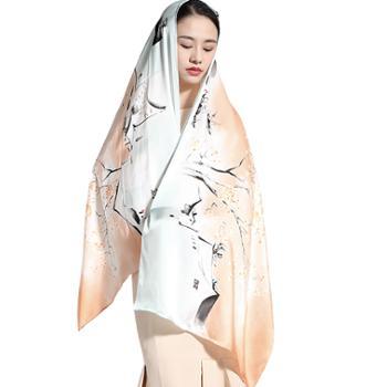 丝语棠16姆米重磅素绉缎长巾-水墨江南